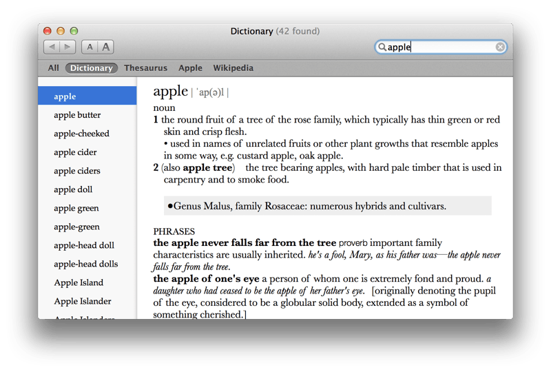Entry for apple in Dictionary.app