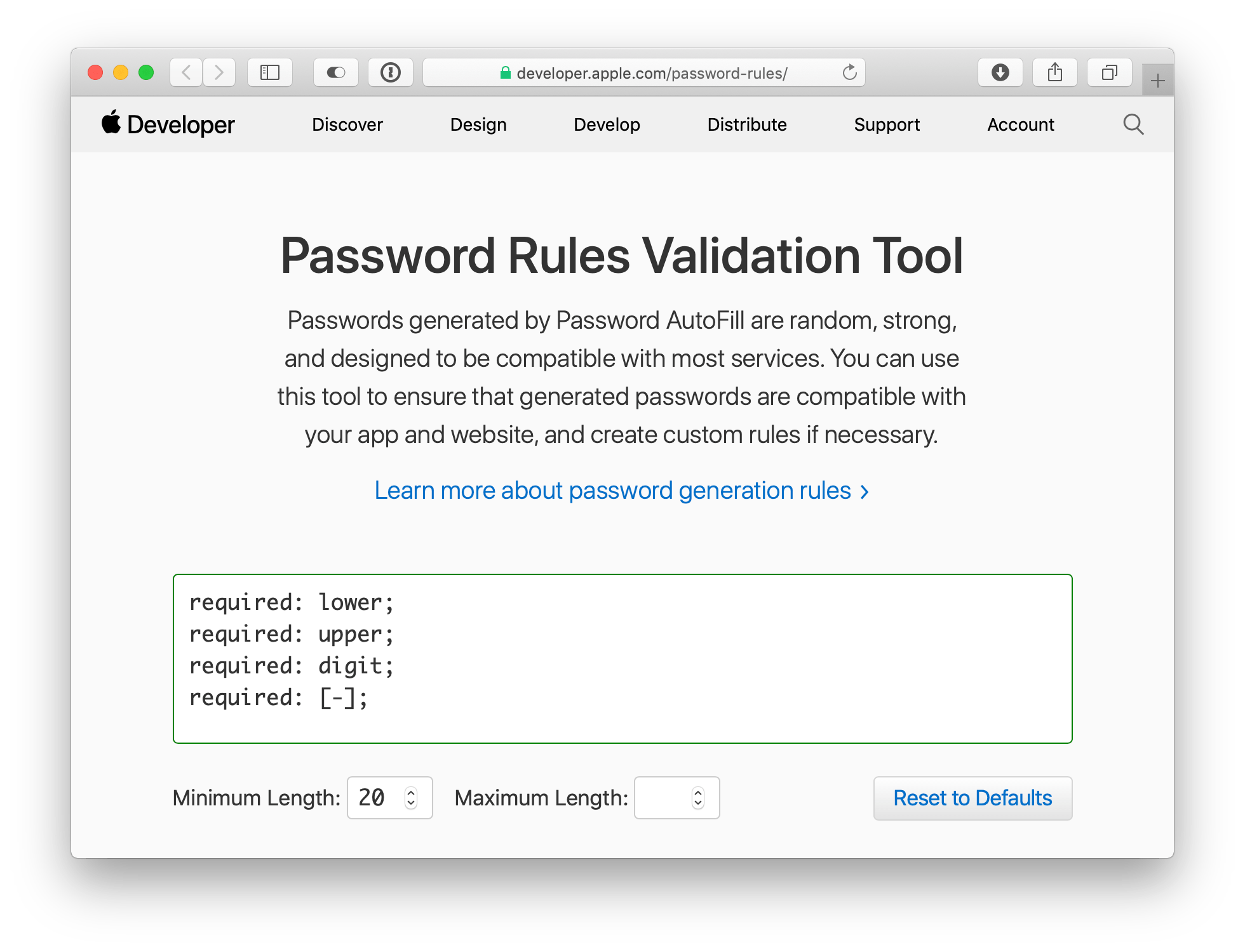 Password Rules Validation Tool