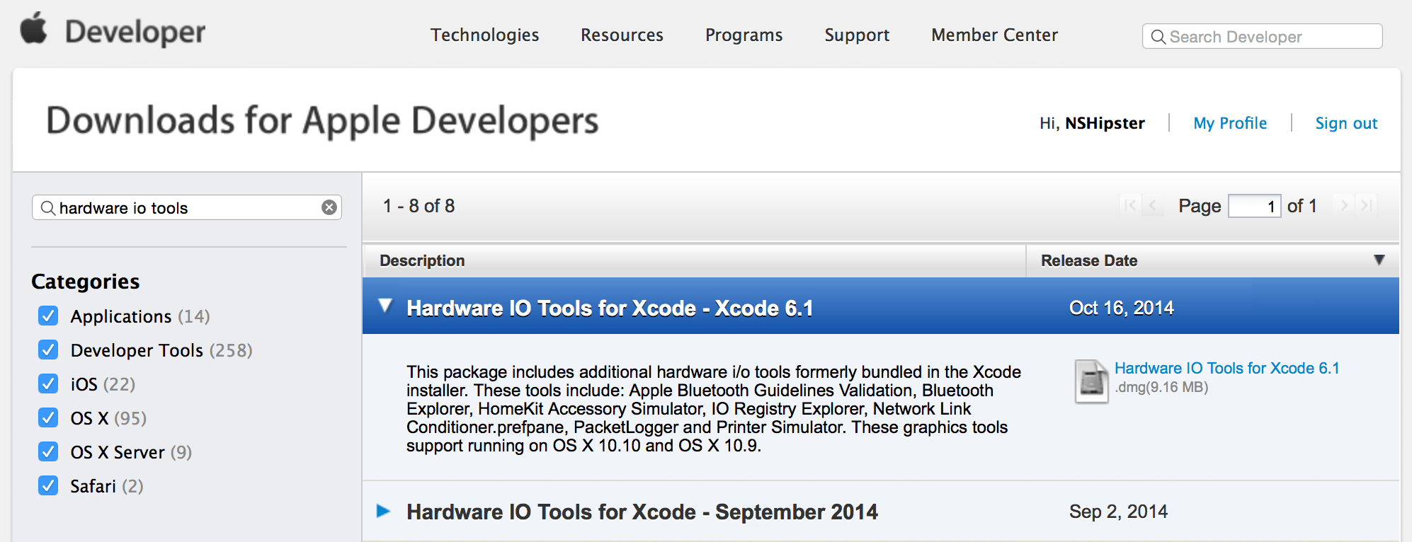 Download Hardware I/O Tools from Apple Developer Website